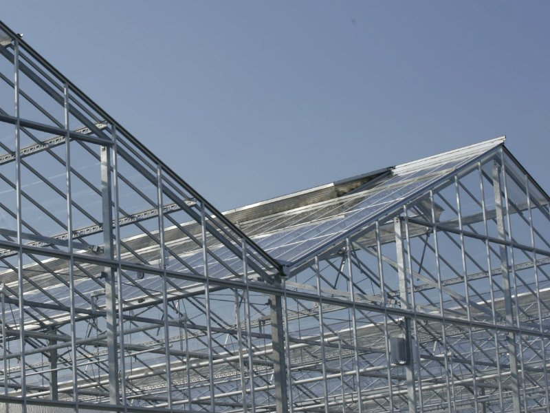 Widespan greenhouse roof