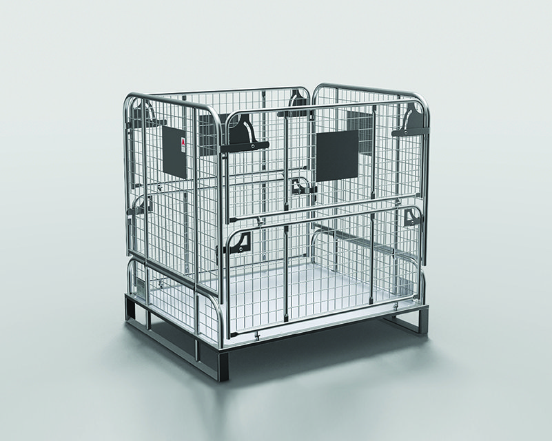 Alcomij – leaflet L-W-EN-008-0519 – Foldable stacking crates (V1.14) – cover photo